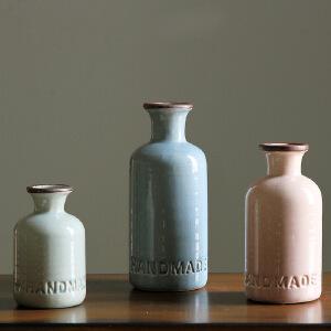 【每满100减50】幸阁 插花美式乡村冰裂釉陶瓷小花瓶 复古彩色花器 花插三款可选