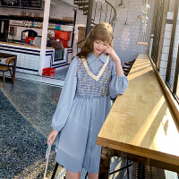 毛菇小象连衣裙秋装2019年新气质雪纺衬衫裙中长款仙女裙背心套装