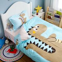 君别恐龙被套床单四件套卡通床上三件套1.2m米床笠儿童小男孩床品