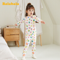 巴拉巴拉儿童内衣套装棉春季新款女童睡衣保暖长袖透气圆领女小童