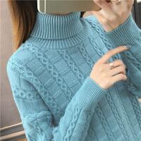 2019秋冬新款高领麻花毛衣女士套头加厚宽松针织衫外穿