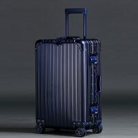 新款铝镁合金拉杆箱女万向轮22寸金属商务行李箱24寸26寸铝旅行箱 钻石款全铝 蓝色