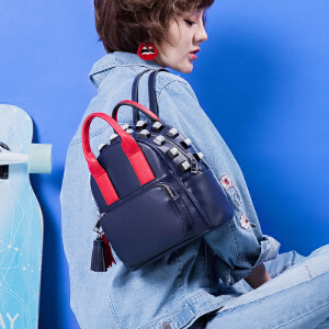 toutou2017秋冬新款撞色百搭时尚铆钉复古双肩包手提大容量背包潮