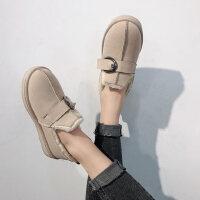 平底面包鞋学生加绒棉鞋雪地靴女百搭韩版短筒短靴子