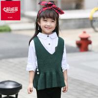 七彩摇篮童装女童毛线背心针织马甲2018新款秋季中小儿童韩版上衣