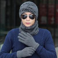 韩版加绒加厚毛线帽户外骑车防风围脖手套三件套帽潮 新款男士保暖套头帽子