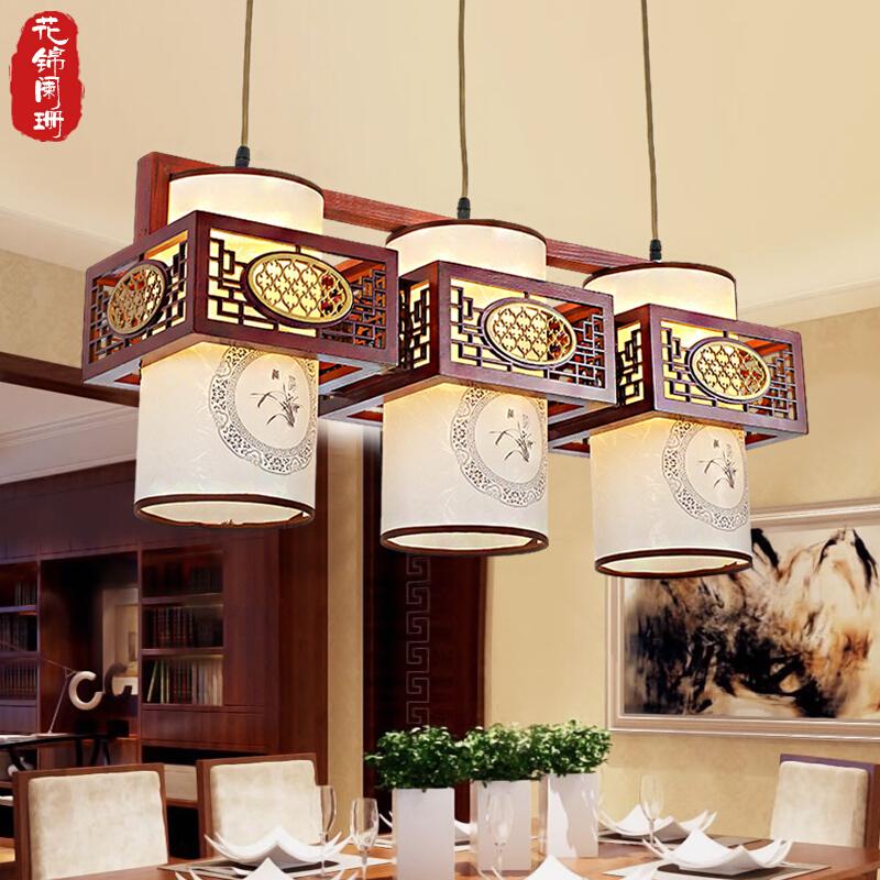 中式吊灯现代实木餐厅灯三头吧台灯简约长方形复古中国风吧厅灯具