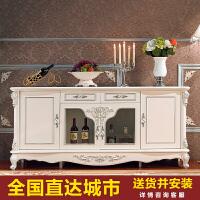欧式餐边柜实木现代简约收纳储物柜客厅餐厅厨房碗柜白色烤漆酒柜 双门