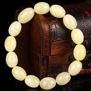 蜜蜡白花蜡枣珠手串 直径11.5mm 重量15.06g
