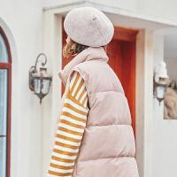 【2件6.8折到手价249】【叠加200-40,400-80】MG小象冬季粉色棉衣女两穿加厚保暖面包服2019新款宽松