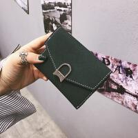 新款2018新款韩版磨砂个性百搭复古潮女士短款钱包女搭扣钱夹卡包