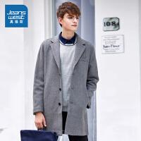[超级大牌日每满299-150]真维斯男装 冬装 中长修身反领净色呢绒外套