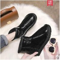 冬季新款防水雪地靴女短筒平底短靴保暖黑色加厚加绒棉鞋女鞋