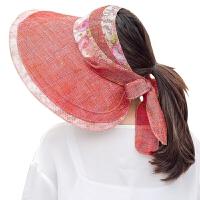 大沿空顶遮阳帽子女夏季韩版户外休闲可折叠防晒太阳帽海边出游沙滩帽
