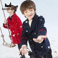 【超品日3件2折:159.8】巴拉巴拉旗下 巴帝巴帝男童双排时尚纽扣大衣2018冬季新款