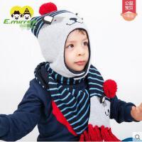 帽子 围巾两件套 针织帽 男女宝宝套头护耳帽 婴幼儿保暖帽子围巾两件套儿童可爱卡通套装