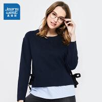 [秒杀价:55.9元,新年不打烊,仅限1.22-31]真维斯女装 2019秋装 时尚假两件套圆领长袖T恤