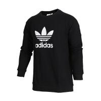 ADIDAS ORIGINALS/阿迪达斯三叶草 女士运动卫衣套头衫 logo 圆领 黑色CW1235