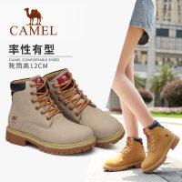 骆驼女鞋2018秋冬季新款马丁靴女短筒靴子真皮工装靴子女士短靴