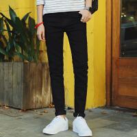 秋冬新款男士黑色牛仔裤修身铅笔裤休闲潮裤(有加绒款)