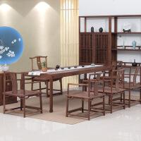 茶台桌老榆木新中式家具黑胡桃木茶桌椅 禅意实木茶楼 茶室家具