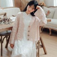 针织衫 女士V领单排扣喇叭袖针织衫2020年秋季新款韩版时尚洋气女式慵懒风宽松女装开衫外套