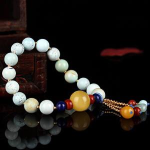 原矿高瓷绿松石圆珠DIY创意手串 配蜜蜡圆珠 重量14.87g