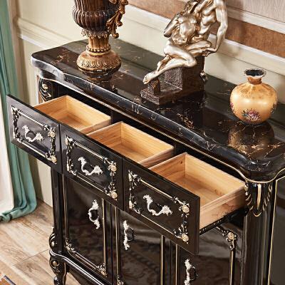 欧式鞋柜实木色描金鞋柜美式木面鞋柜大理石收纳柜玄关储物柜  整装 品质家具,放心选购;质量保证,售后无忧。