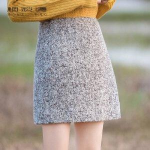 烟花烫2018冬新款女裙百搭时尚毛呢A字简洁短裙半身裙 铭刻
