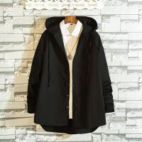 秋季新款纯色连帽风衣男士休闲宽松外套韩版中长款衣服潮男装夹克
