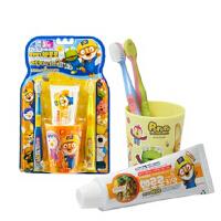 韩国正品 宝露露 小企鹅宝露露 牙刷 儿童牙膏 小企鹅 儿童牙刷 牙膏 杯子 4件套装 抗菌 (三岁以上)