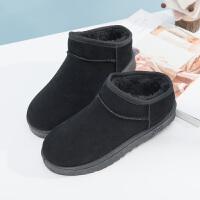 雪地靴女短筒2018冬季新款保暖加绒防滑韩版百搭学生女短靴棉鞋潮 大气黑 短筒