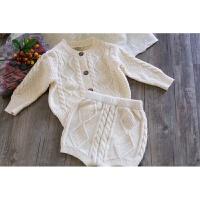 春装新款ins童装男女童宝宝麻花针织毛衣开衫+短裤套装婴儿两件套 66(奶白色 现货)
