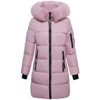 2018冬季新款修身棉衣女中长款大毛领加厚棉袄外套潮