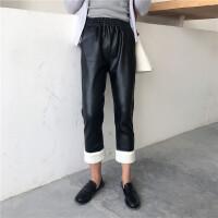 裤子女韩范宽松ulzzang百搭哈伦裤显瘦PU皮裤冬季加绒直筒九分裤