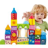 城堡大块木制积木宝宝益智力玩具1-2-3-6周岁儿童男女孩颗粒