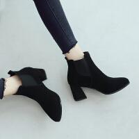 ZHR2019秋冬季新款韩版裸靴短筒切尔西靴粗跟短靴高跟靴真皮女靴