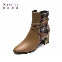 莱尔斯丹 秋冬商场同款圆头高跟套筒时尚女靴时装靴9T71210