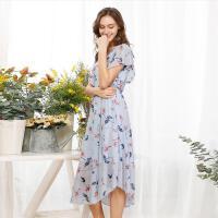 OSA欧莎2017夏装新款女装淡雅清新优雅连衣裙B13071