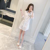 雪纺白衬衫女长袖2018春新款宽松韩版bf风上衣中长款打底衬晒衣