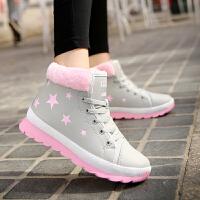 新款棉鞋女冬季学生韩版保暖加绒平底运动鞋学生高帮鞋冬鞋休闲鞋女鞋