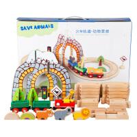 木制托马斯火车轨道套装模型玩具男孩4-5-8-10岁儿童益智带电动车头