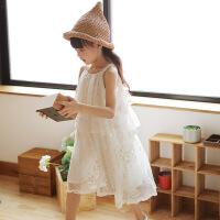 女童夏装裙子2018新款韩版森系中大儿童蕾丝公主裙女孩甜美连衣裙 米白色夏季吊带裙 正码