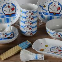 【家装节 夏季狂欢】卡通陶瓷碗碟套装哆啦A梦餐具骨瓷饭碗盘子家用微波炉
