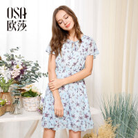 OSA欧莎夏装女2017夏装新款女装 时尚印花百搭收腰短袖连衣裙