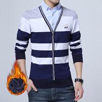 男装男士针织假两件保暖衬衫加绒加厚保暖寸衫长袖休闲衬衣
