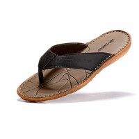 夏季厚底男沙滩皮凉鞋防滑牛筋底 皮拖鞋 男士增高人字拖