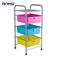 ANHO抽屉式收纳柜不锈钢厨房置物架浴室储物柜卫生间整理柜子3层