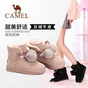 Camel/骆驼女鞋 2018冬季新款 平跟甜美少女舒适防滑雪地靴短筒女