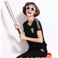 运动服套装 韩版 时尚 女 休闲 运动 短袖 两件套 大码 运动服 潮